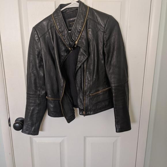 Zara Jackets & Blazers - Zara faux leather jacket with gold hardware
